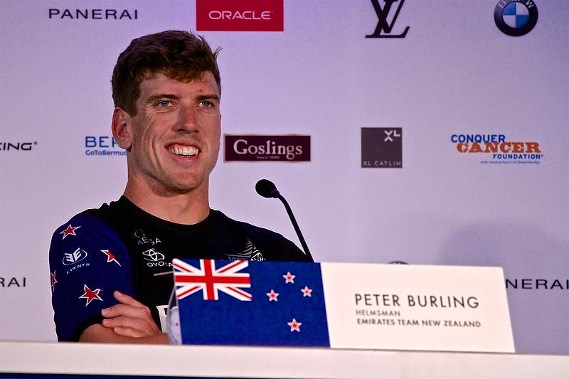 Peter Burling smiles at one of Jimmy Sputhill's quips at the media conference - America's Cup 35th Match - Match Day1 - Regatta Day 17, June 17, 2017 (ADT) - photo © Richard Gladwell