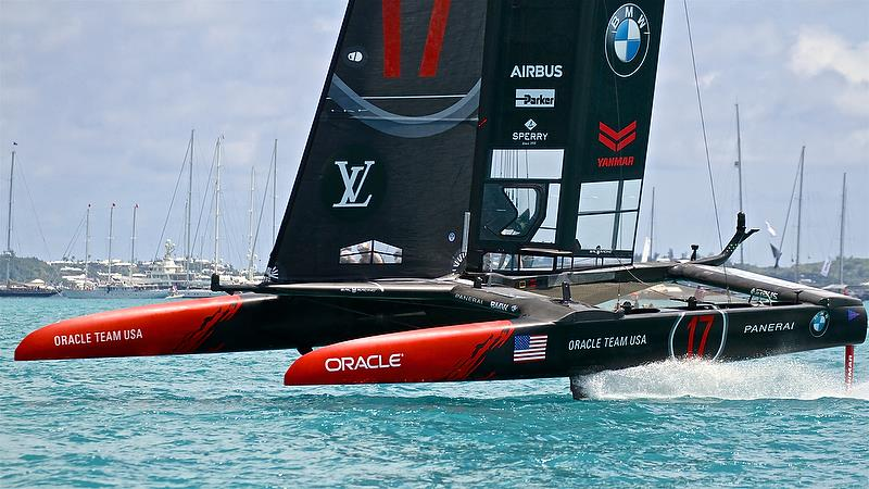 Oracle Team USA finishing Race 2 - 35th America's Cup Match - Bermuda June 17, 2017 photo copyright Richard Gladwell taken at  and featuring the AC50 class