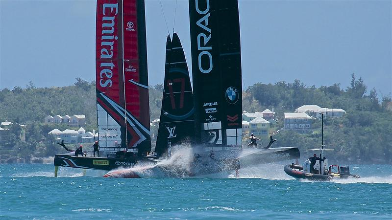 Oracle Team USA and Emirates Team New Zealand ahead of the start of Race 3 - America's Cup 35th Match - Match Day2 - Regatta Day 18, June 18, 2017 (ADT) - photo © Richard Gladwell
