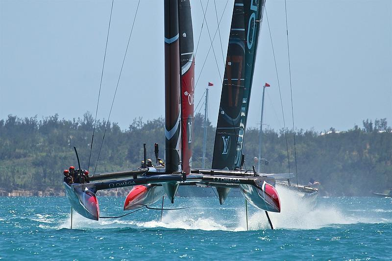 Emirates Team New Zealand - crosses Oracle Team USA - Leg 1 - Race 4 - - 35th America's Cup Match - Race 3 - Bermuda June 18, 2017 - photo © Richard Gladwell