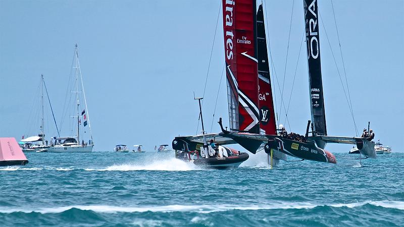 Emirates Team New Zealand trails Oracle Team USA around Mark 1 - America's Cup 35th Match - Match Day 5 - Regatta Day 21, June 26, 2017 (ADT) - photo © Richard Gladwell