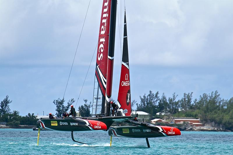 Emirates Team New Zealand pulls off a perfect foiling tack - leg 3 - America's Cup 35th Match - Match Day 5 - Regatta Day 21, June 26, 2017 (ADT) - photo © Richard Gladwell