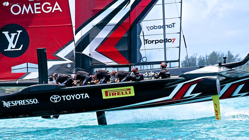 Emirates Team New Zealand warm up - America's Cup 35th Match - Match Day 5 - Regatta Day 21, June 26, 2017 (ADT) - photo © Richard Gladwell