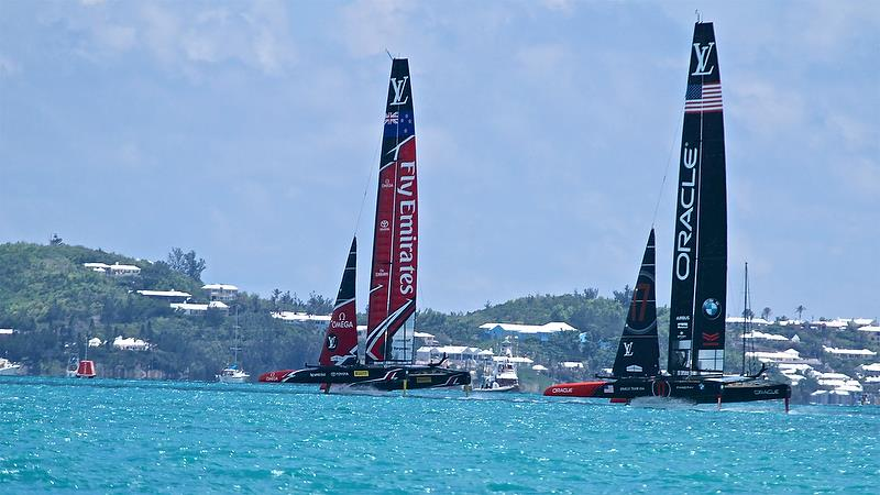 Emirates Team New Zealand in control with the top mark in sight - Leg 5 - America's Cup 35th Match - Match Day 5 - Regatta Day 21, June 26, 2017 (ADT) - photo © Richard Gladwell