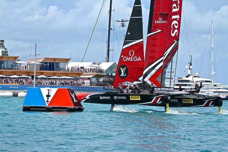 Emirates Team New Zealand crosses the finish line to win the 35th Match for the America's Cup - America's Cup 35th Match - Match Day 5 - Regatta Day 21, June 26, 2017 (ADT) - photo © Richard Gladwell