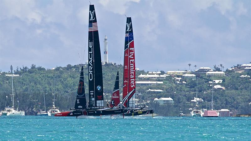 Oracle Team USA sets up to tack on Leg 5 - America's Cup 35th Match - Match Day 5 - Regatta Day 21, June 26, 2017 (ADT) - photo © Richard Gladwell