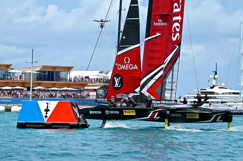 Emirates Team New Zealand crosses the finish line to win the America's cup - America's Cup 35th Match - Match Day 5 - Regatta Day 21, June 26, 2017 (ADT) - photo © Richard Gladwell