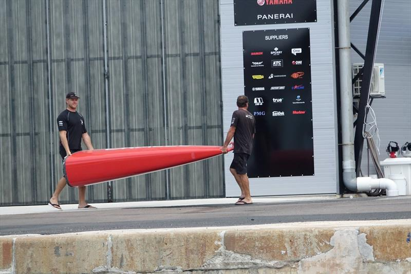A bow section is carried from Softbank Team Japan to Oracle Team USA, in Bermuda, sending the Kiwi media into a speculative tizz - photo © Emirates Team New Zealand