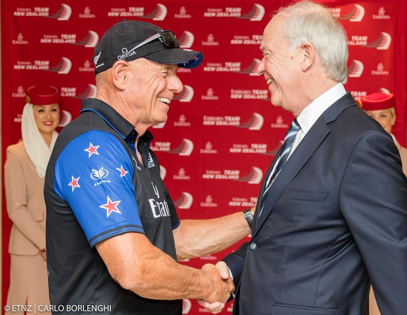 Grant Dalton with the President of Emirates Airlines, Sir Tim Clark photo copyright Emirates Team New Zealand taken at Royal New Zealand Yacht Squadron and featuring the AC50 class