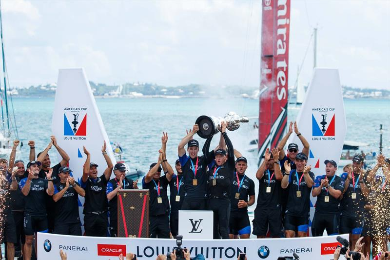 Emirates Team New Zealand lift the America's Cup for the first time in Bermuda photo copyright Emirates Team New Zealand taken at Royal New Zealand Yacht Squadron and featuring the AC50 class