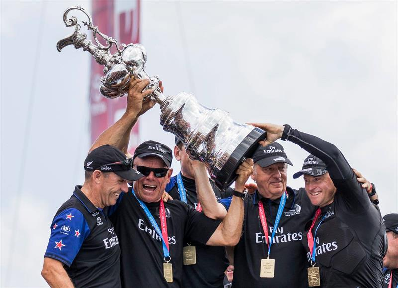 Kevin Shoebridge, Grant Dalton, Matteo di Nora and Glenn Ashby with the America's Cup in Bermuda - photo © Emirates Team New Zealand