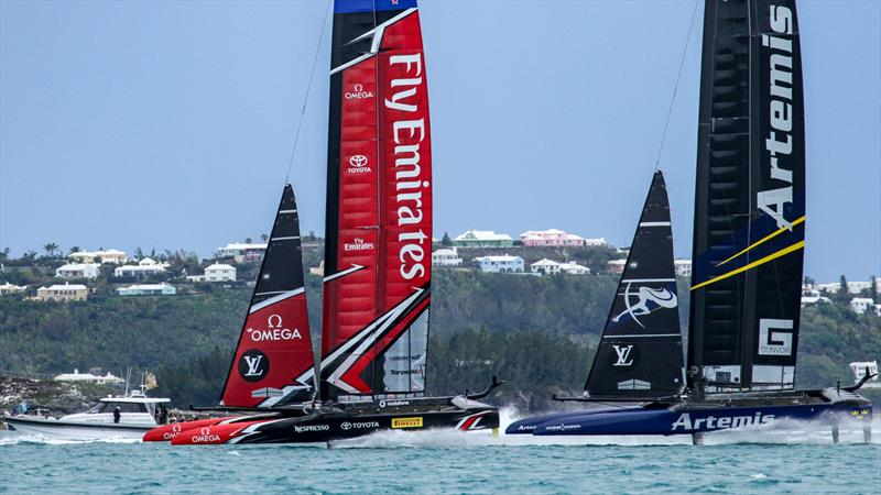 Burling/Tuke's rivalry with Outteridge/Jensen resumed in the Louis Vuitton Trophy in Bermuda 2017 - photo © Richard Gladwell / Sail-World.com