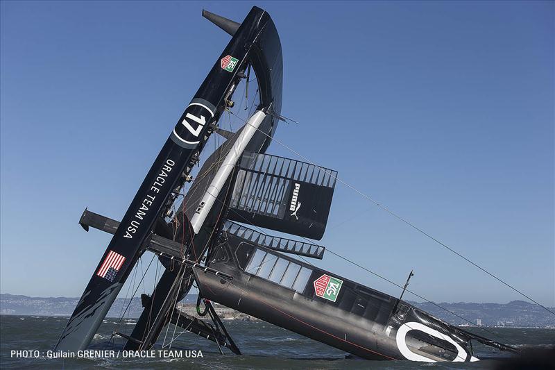 ORACLE TEAM USA 17 AC72 capsizes in San Francisco Bay - photo © Guilain Grenier / ORACLE TEAM USA