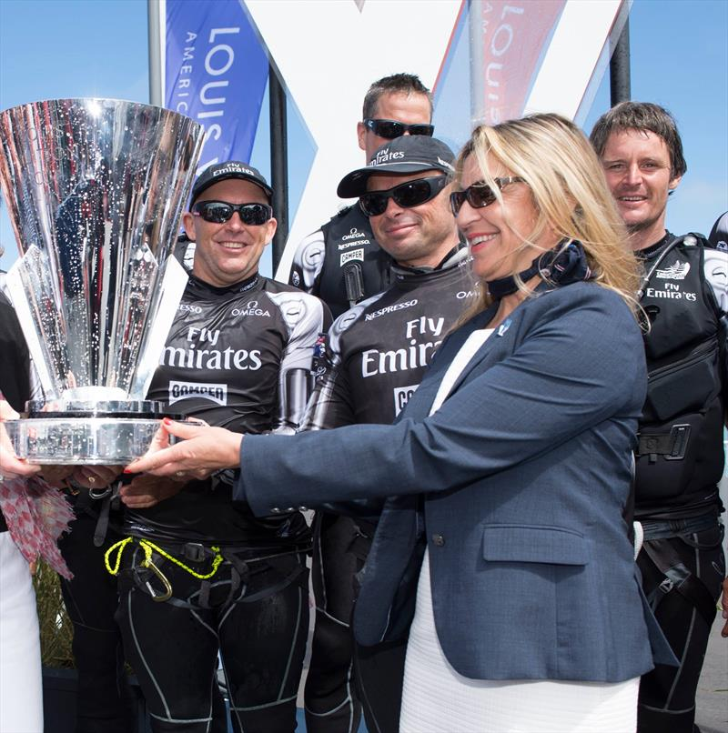 Christine Belanger presents the Louis Vuitton Trophy in 2013 to Emirates Team NZ - photo © Emirates Team NZ