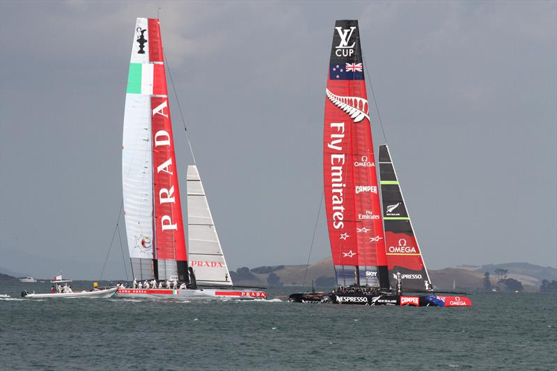 Emirates Team New Zealand and Luna Rossa have ing practice race in the AC72's off Takapuna Beach - one of the course areas for the 2021 America's Cup - photo © Richard Gladwell
