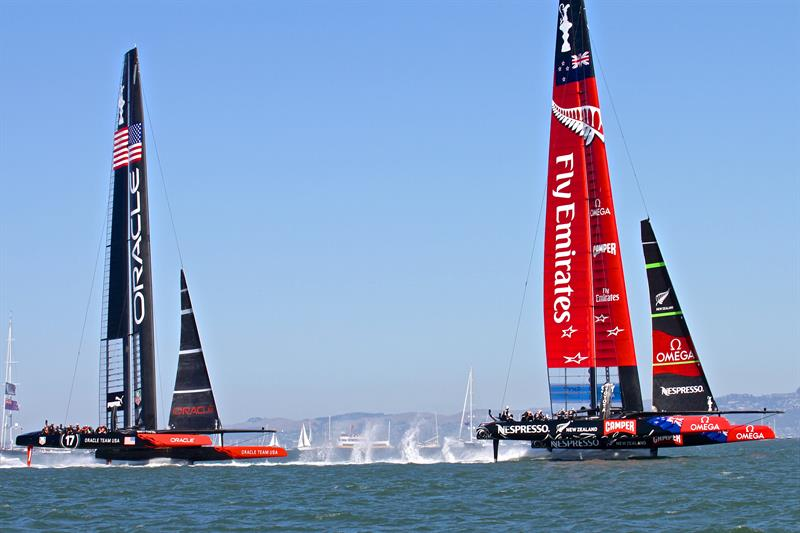 Despite being a shorter boat the AC72 have taller rigs than the AC75 - photo © Richard Gladwell Sail-World.com