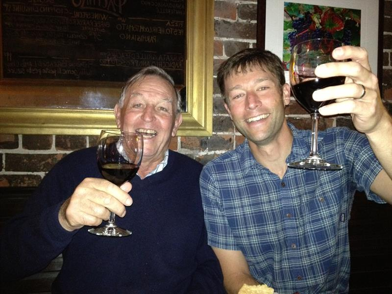 Bob Fisher and David Schmidt raising a glass together at the 34th America's Cup - photo © Stuart Alexander