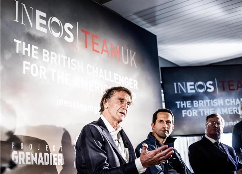Jim Ratcliffe, Ben Ainslie and RYS Commodore Jamie Sheldon - photo © HarryKH / INEOS TEAM UK
