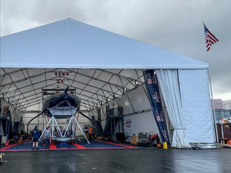 The American Magic Team Base in Auckland is in the final stages of construction as sailing operations begin - photo © American Magic