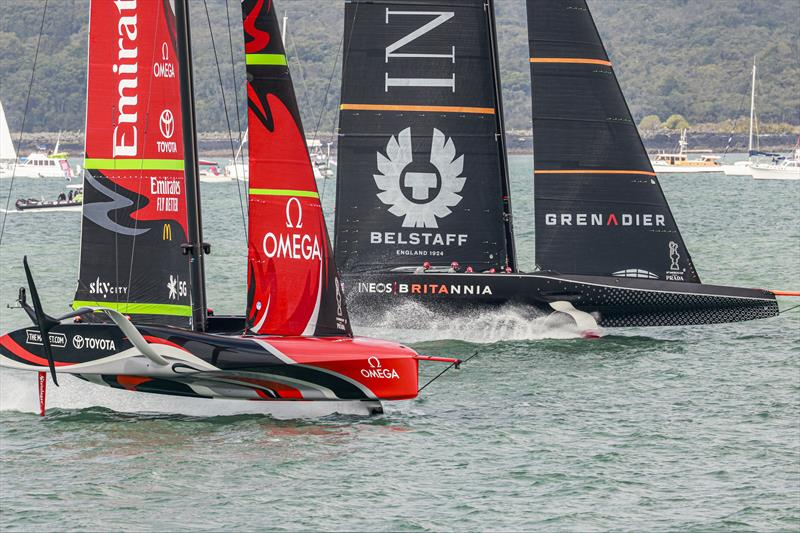 Emirates Team New Zealand vs INEOS TEAM UK on day 2 of PRADA ACWS Auckland - photo © COR36 / Studio Borlenghi