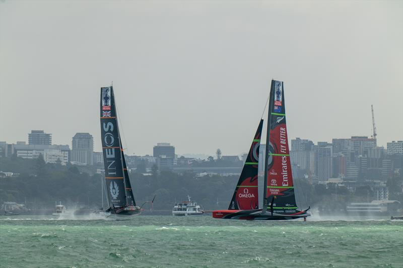 Emirates Team New Zealand vs INEOS TEAM UK on day 2 of PRADA ACWS Auckland - photo © Hamish Hooper / ETNZ
