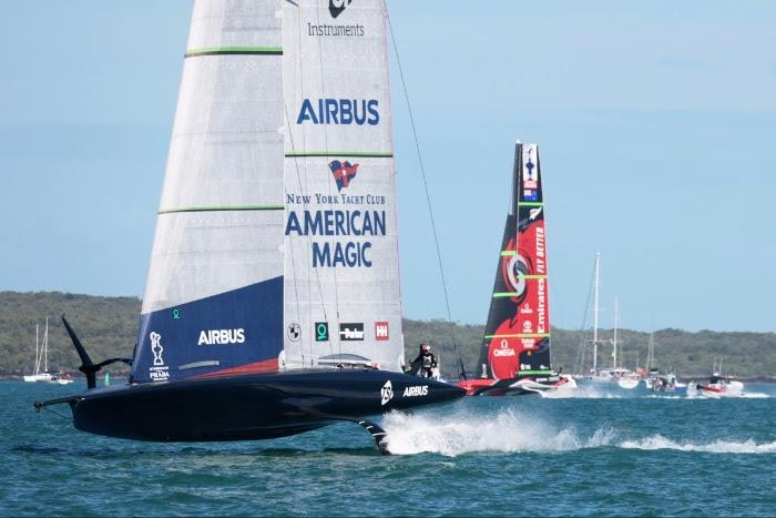 New York Yacht Club American Magic vs Emirates Team New Zealand on day 3 of PRADA ACWS Auckland - photo © Sailing Energy / American Magic