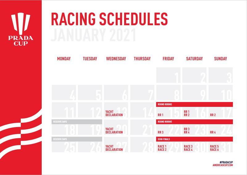 PRADA Cup racing calendar - photo © PRADA Cup