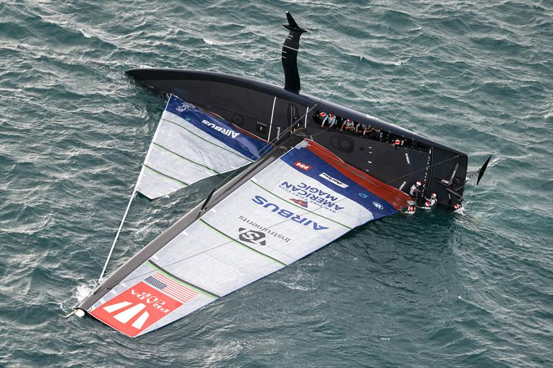 A huge capsize for American Magic on day 3 of the PRADA Cup - photo © COR36 / Studio Borlenghi