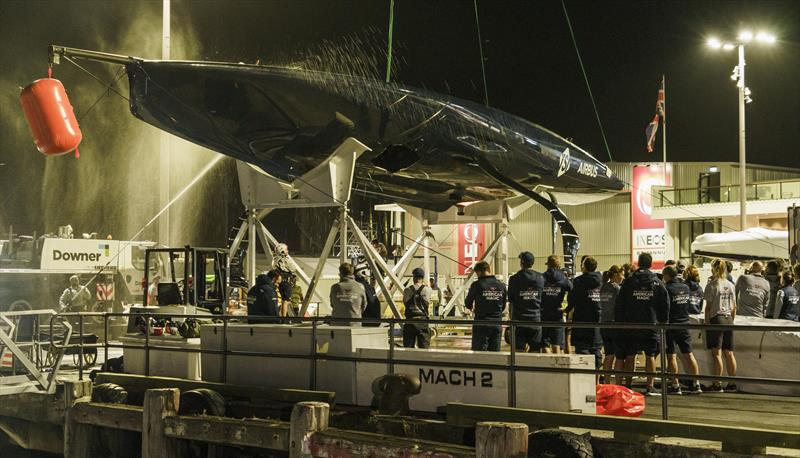 NYYC American Magic's Patriot back ashore with a huge hole in the hull after their massive capsizes on day 3 of the PRADA Cup - photo © COR36 / Studio Borlenghi