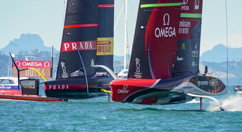 America's Cup match day 2 - Luna Rossa Prada Pirelli and Emirates Team New Zealand start - photo © ACE / Studio Borlenghi