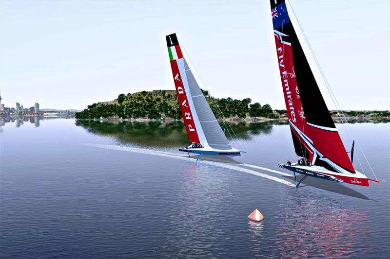 Graphic of AC75 yachts racing on a course on the outer Waitemata Harbour off North Head - photo © Emirates Team New Zealand