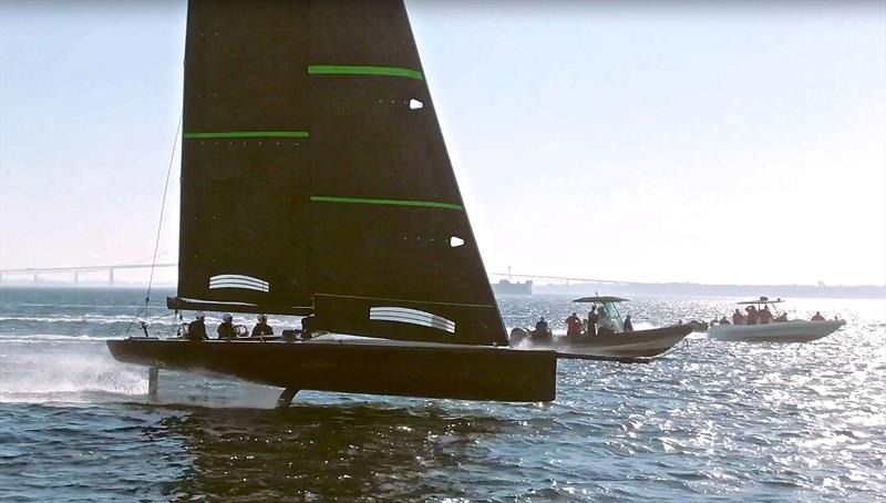 America's Cup: American Magic saddle up the foiling Mule - Video