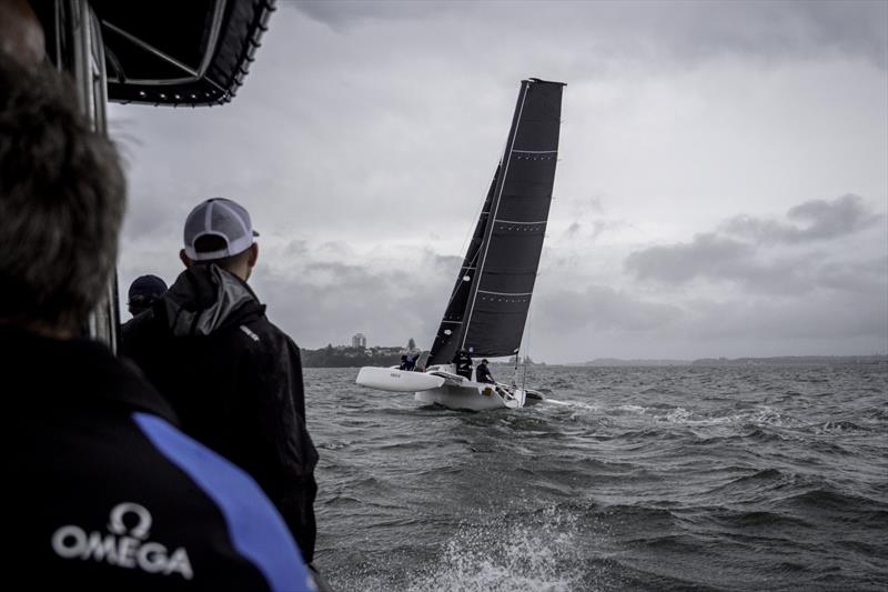 Emirates Team New Zealand testing a soft wing concept sail in Auckland, New Zealand, February 2018 - photo © Hamish Hooper