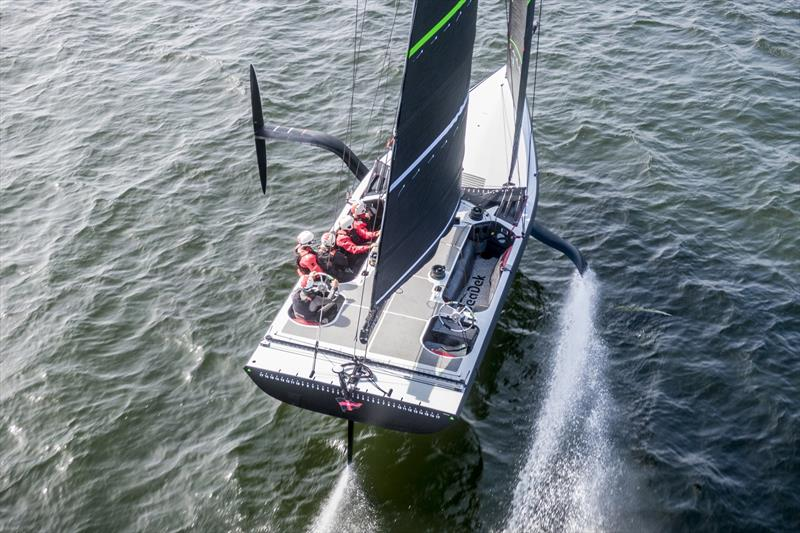 'The Mule' - Spring training in Pensacola, Florida - giving a better idea of the foiling physics of the AC75. - photo © Amory Ross