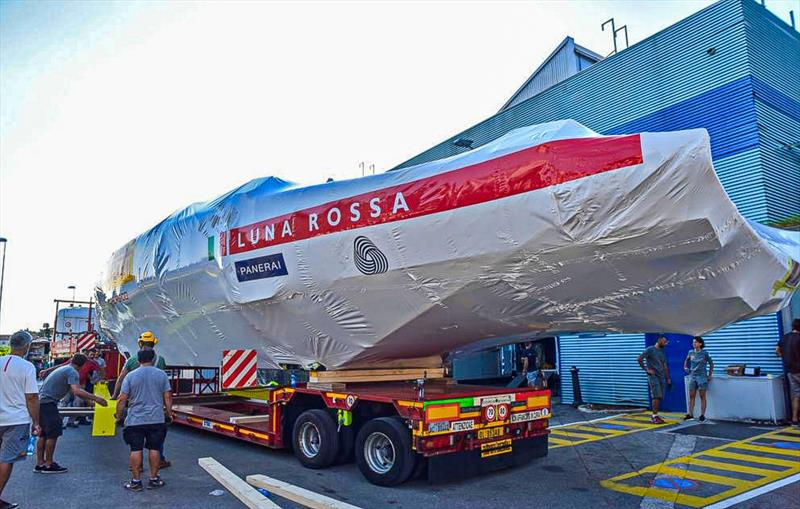 Luna Rossa Prada Pirelli's first AC75 leaves the Persico building facility in Bergamo, Italy, August - photo © Bergamo Corriere