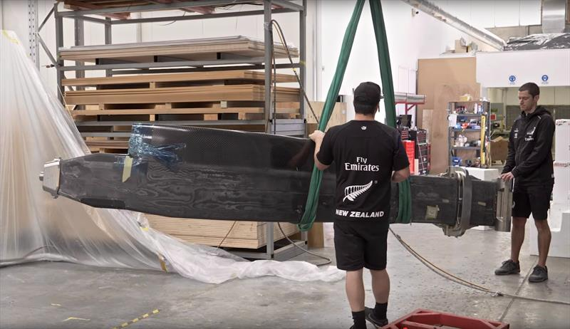 Emirates Team New Zealand unload the carbon foil arms from Persico Marine, Italy - August 14, 2019 - photo © Emirates Team New Zealand