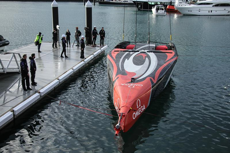 Floating on the Waitemata - Emirates Team New Zealand launch the world's first AC75, Auckland, September 6, photo copyright Richard Gladwell taken at Royal New Zealand Yacht Squadron and featuring the AC75 class