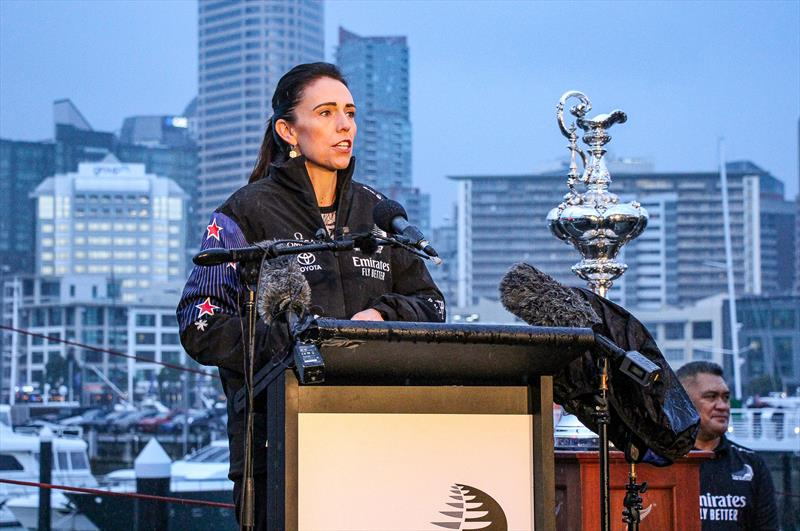 Prime Minister Jacinda Adhern - Emirates Team New Zealand launch the world's first AC75, Auckland, September 6, photo copyright Richard Gladwell / Sail-World.com taken at Royal New Zealand Yacht Squadron and featuring the AC75 class