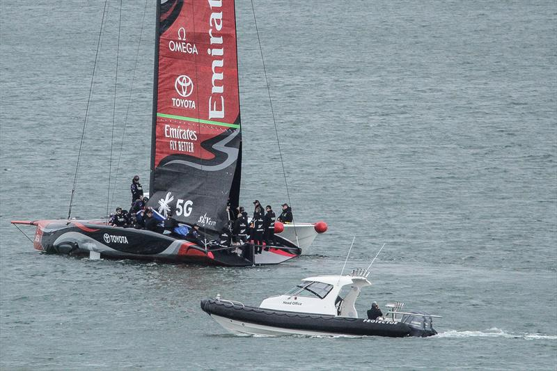 Emirates Team New Zealand - Luna Rossa spy boat in close attendance - Auckland, September 11, 2019 - photo © Richard Gladwell