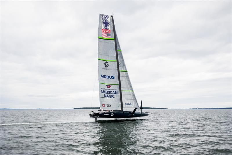 American Magic's AC75 during its first sail on Narragansett Bay near Newport, Rhode Island - Tuesday, September 10th.) - photo © Amory Ross