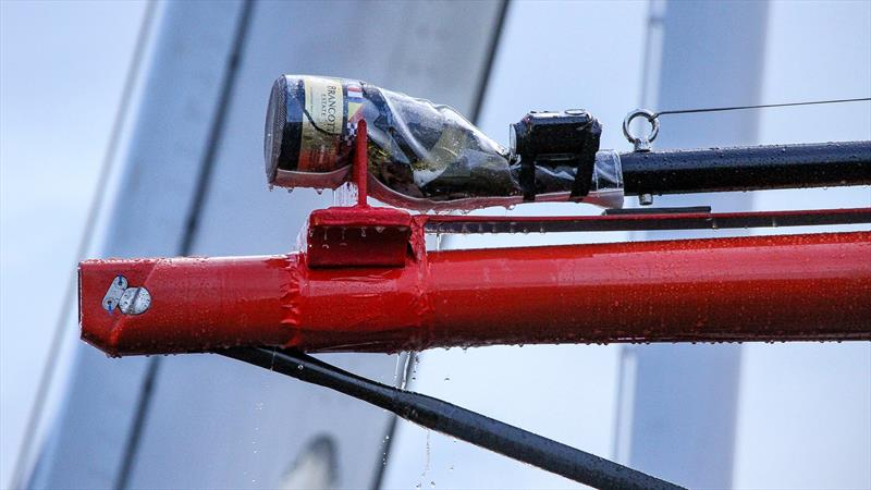 Emirates Team New Zealand launch - the bottle - complete with Go-Pro - never had a chance - Auckland, September 6 , - photo © Richard Gladwell
