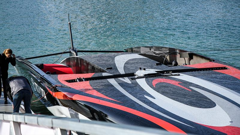 Emirates Team New Zealand - the deck layout is noticeable for the lack of a mainsheet traveller and flat centre deck between the cockpits - Auckland, September 06, 2019 - photo © Richard Gladwell / Sail-World.com