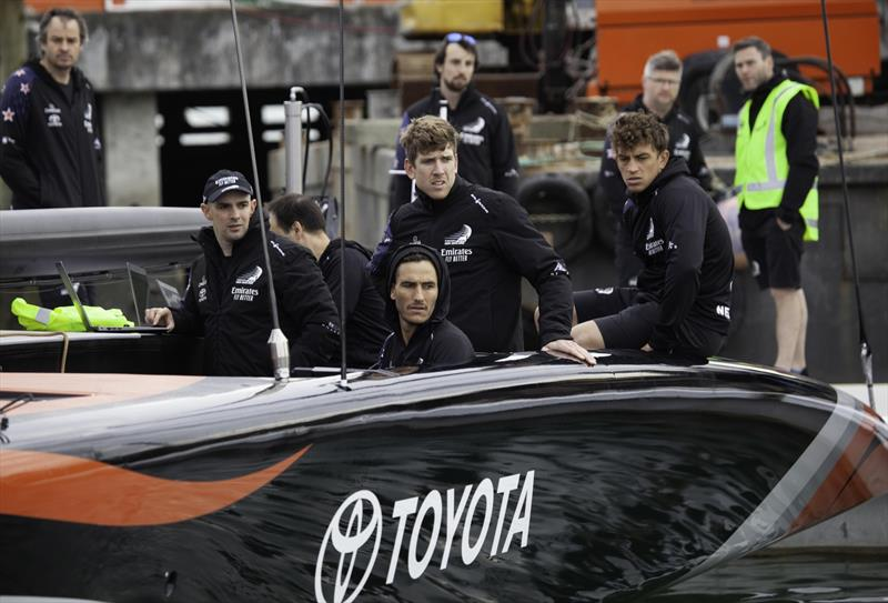 Nervous glances as Emirates Team New Zealand leaves the base to go sailing - Day 1, September 18, 2019 - photo © Emirates Team New Zealand