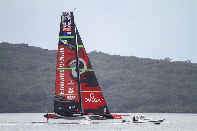 Emirates Team New Zealand still under tow on the Waitemata Harbour in light winds - September 19, 2019. - photo © Richard Gladwell