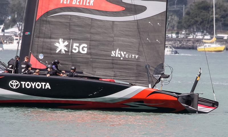 Emirates Team New Zealand mainsail foot and support spar - September 19, 2019 - photo © Richard Gladwell