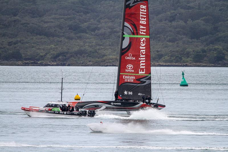 Emirates Team New Zealand under tow - chasing the wind- September 19, 2019. - photo © Richard Gladwell