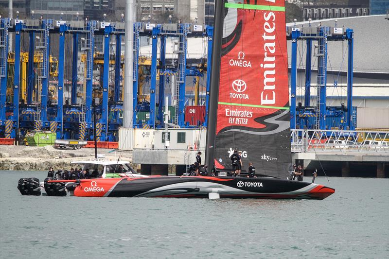 Emirates Team New Zealand - Deck sweeper mainsail - Waitemata Harbour - Day 3 - September 19, 2019 - photo © Richard Gladwell