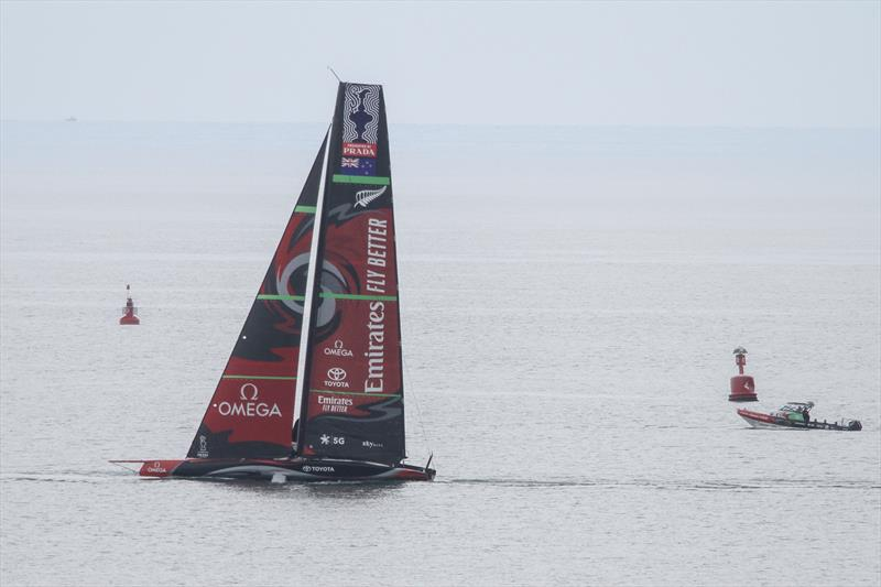 Emirates Team New Zealand sailing in the Course B area and easily visible from the cliff tops overlooking the course - Waitemata Harbour - September 19, 2019. - photo © Richard Gladwell