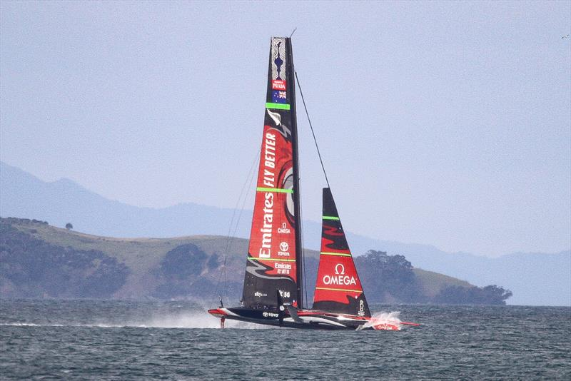 Emirates Team New Zealand starts into the big splash down - windward wing is clear bow down angle is not as bad a AC50's and she comes out of it quite easly if spectacularly- Waitemata Harbour - September 22 - photo © Richard Gladwell
