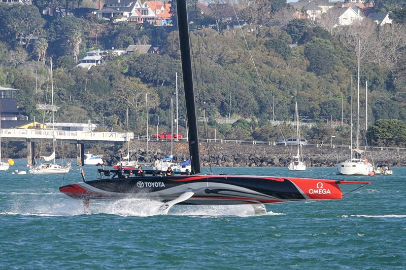 Emirates Team New Zealand tows home on Sunday, September 21, Waitemata Harbour - photo © Richard Gladwell